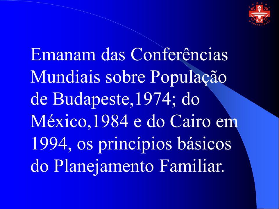 Emanam das Conferências Mundiais sobre População de Budapeste,1974; do México,1984 e do Cairo em 1994, os princípios básicos do Planejamento Familiar.