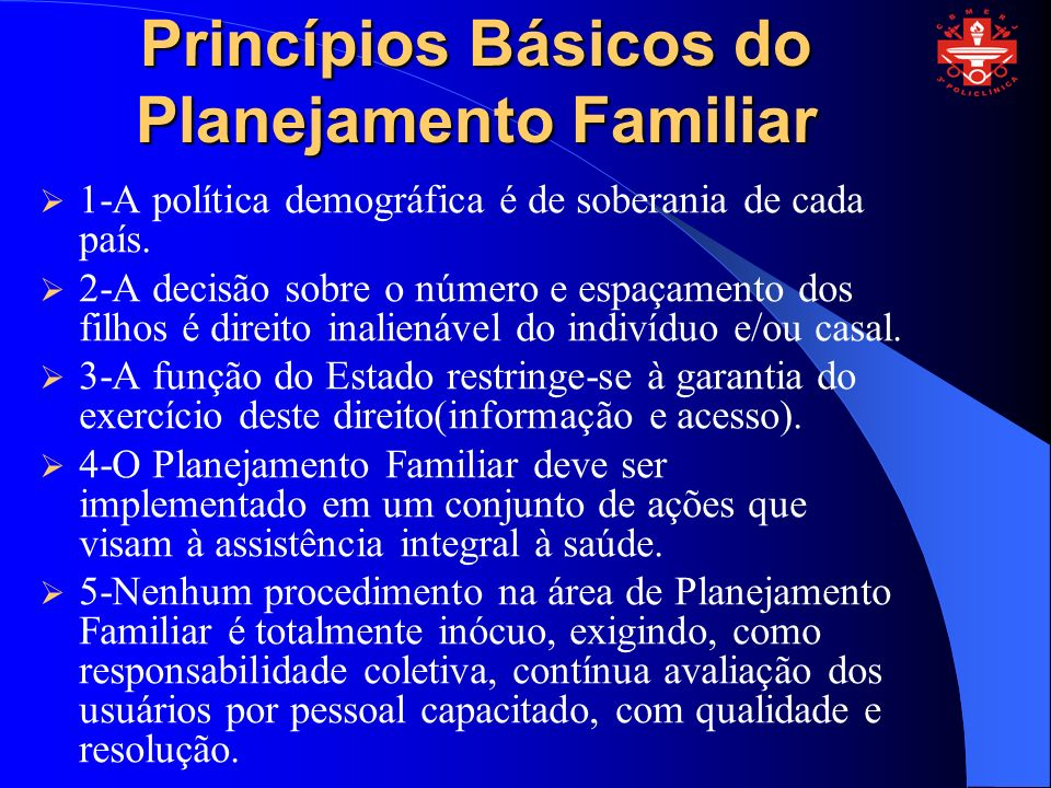 Princípios Básicos do Planejamento Familiar