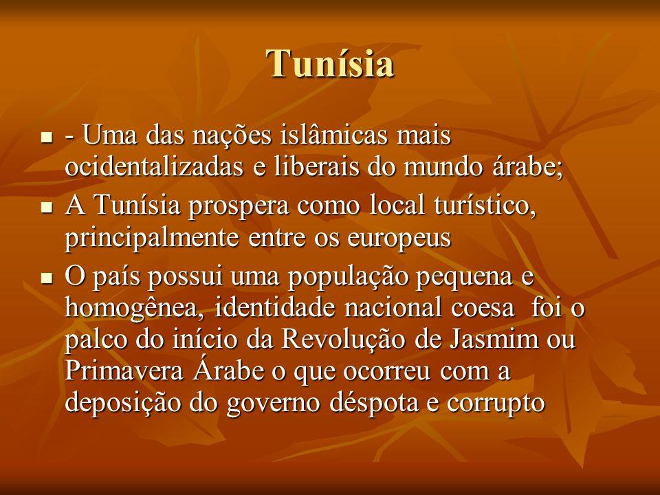 Tunísia- Uma das nações islâmicas mais ocidentalizadas e liberais do mundo árabe;