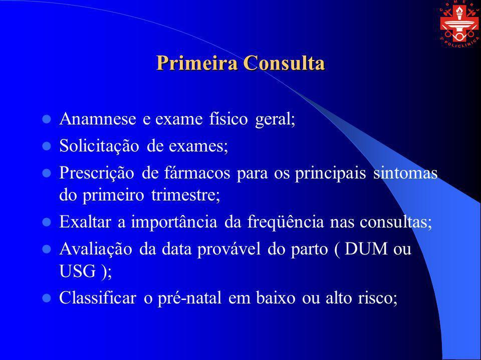 Primeira Consulta Anamnese e exame físico geral;