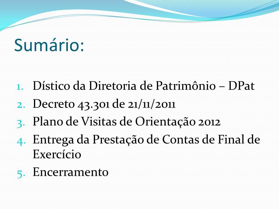 Sumário: Dístico da Diretoria de Patrimônio – DPat