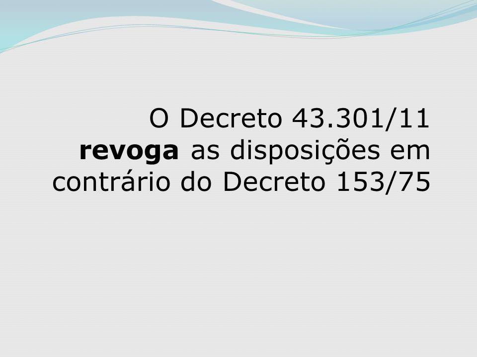 O Decreto 43.301/11 revoga as disposições em contrário do Decreto 153/75