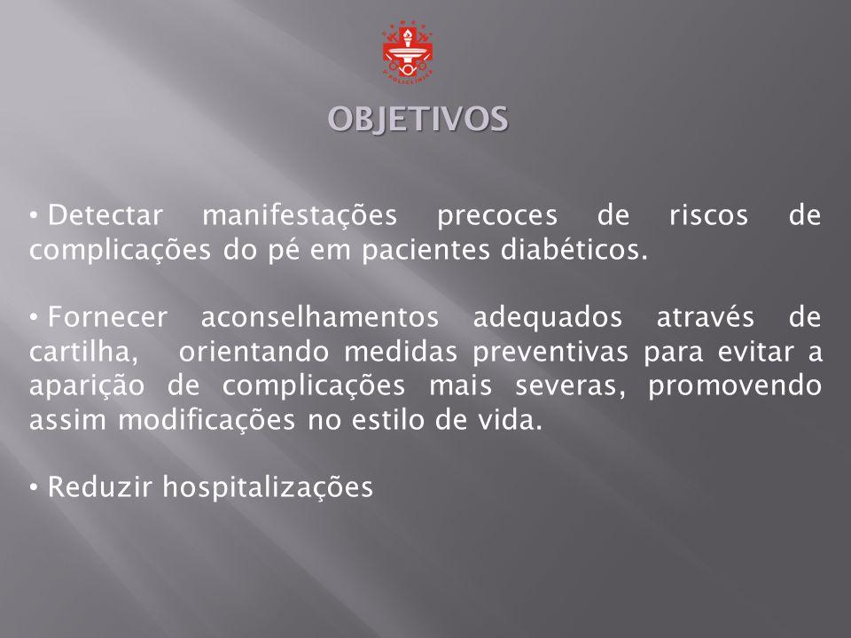 OBJETIVOS Detectar manifestações precoces de riscos de complicações do pé em pacientes diabéticos.