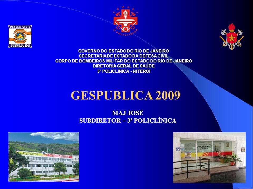 GESPUBLICA 2009 MAJ JOSÉ SUBDIRETOR – 3ª POLICLÍNICA