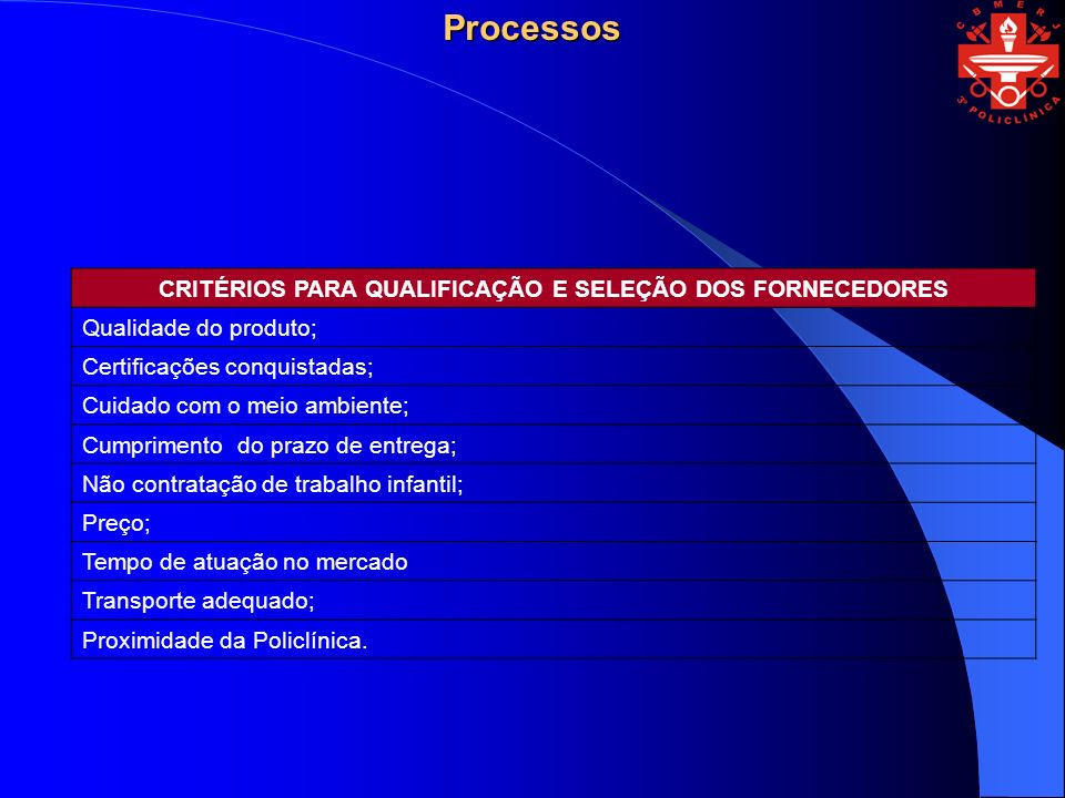 CRITÉRIOS PARA QUALIFICAÇÃO E SELEÇÃO DOS FORNECEDORES