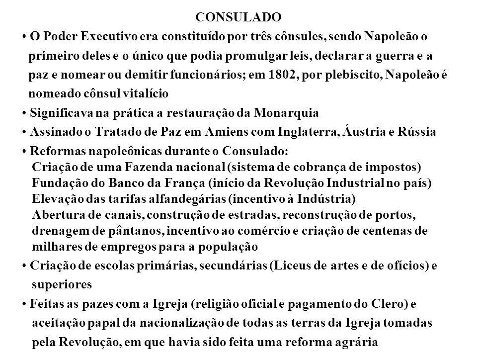 CONSULADO O Poder Executivo era constituído por três cônsules, sendo Napoleão o.