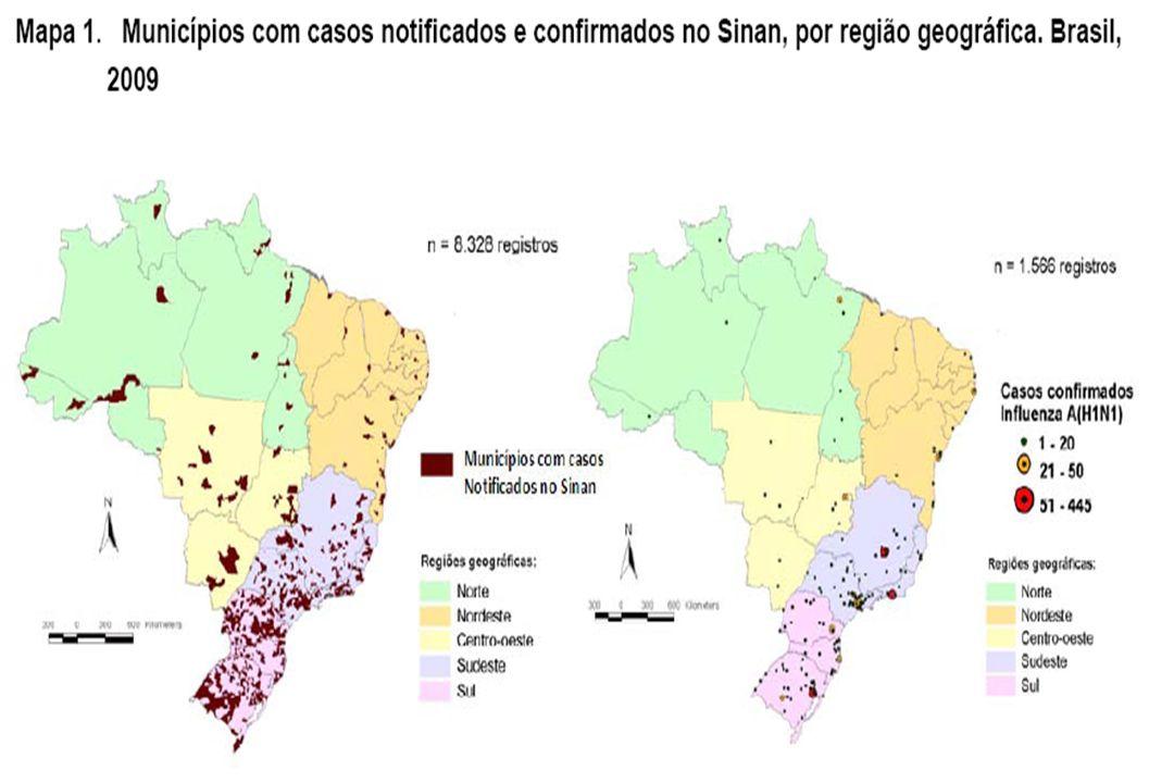 No Brasil, até 18 de julho de 2009, referente à semana epidemiológica (SE) 28, as Secretarias Estaduais e Municipais de Saúde registraram 8.328 casos de SRAG no Sinan, distribuídos em todo território nacional (Mapa 1).