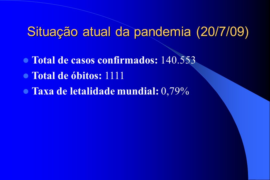 Situação atual da pandemia (20/7/09)