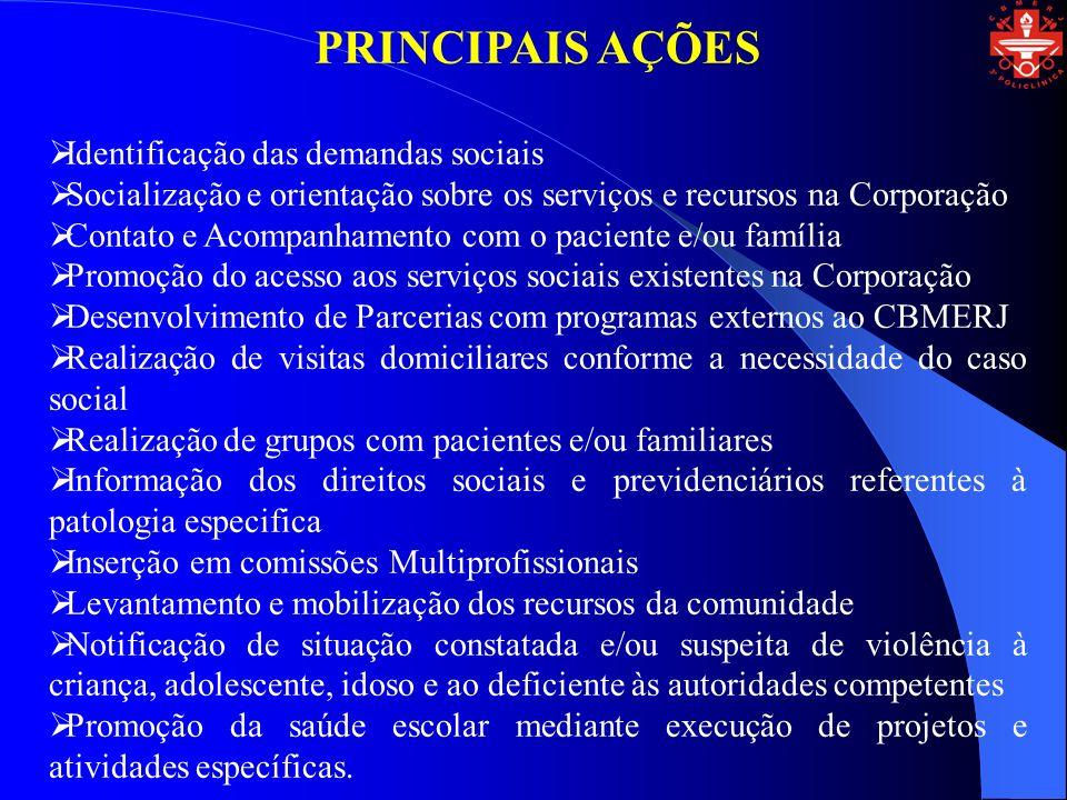 PRINCIPAIS AÇÕES Identificação das demandas sociais