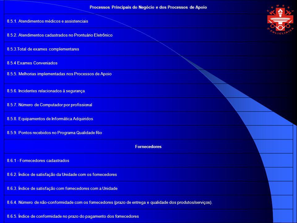 Processos Principais do Negócio e dos Processos de Apoio