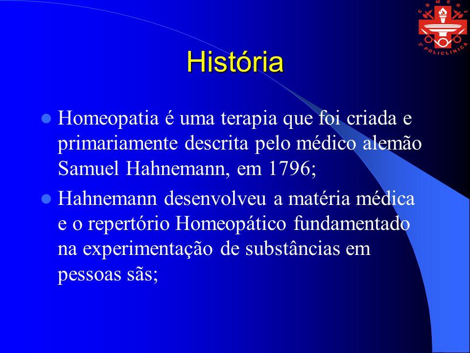 HistóriaHomeopatia é uma terapia que foi criada e primariamente descrita pelo médico alemão Samuel Hahnemann, em 1796;