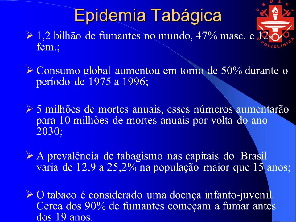 Epidemia Tabágica 1,2 bilhão de fumantes no mundo, 47% masc. e 12% fem.; Consumo global aumentou em torno de 50% durante o período de 1975 a 1996;