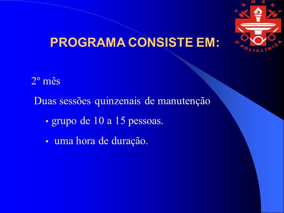 PROGRAMA CONSISTE EM: 2º mês Duas sessões quinzenais de manutenção
