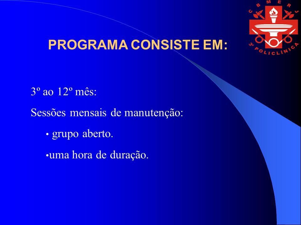 PROGRAMA CONSISTE EM: 3º ao 12º mês: Sessões mensais de manutenção: