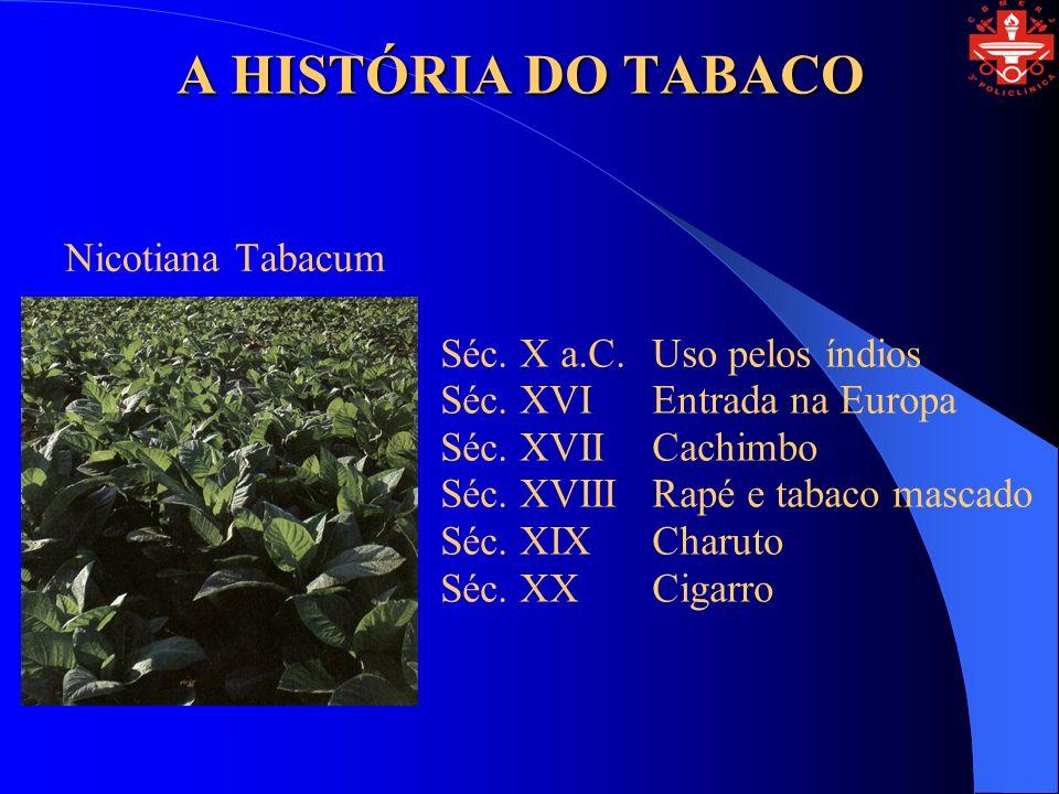 A HISTÓRIA DO TABACO Nicotiana Tabacum Séc. X a.C. Uso pelos índios