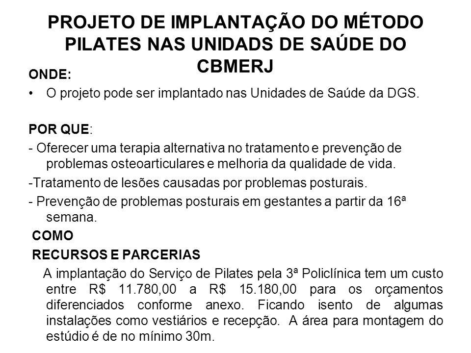 PROJETO DE IMPLANTAÇÃO DO MÉTODO PILATES NAS UNIDADS DE SAÚDE DO CBMERJ