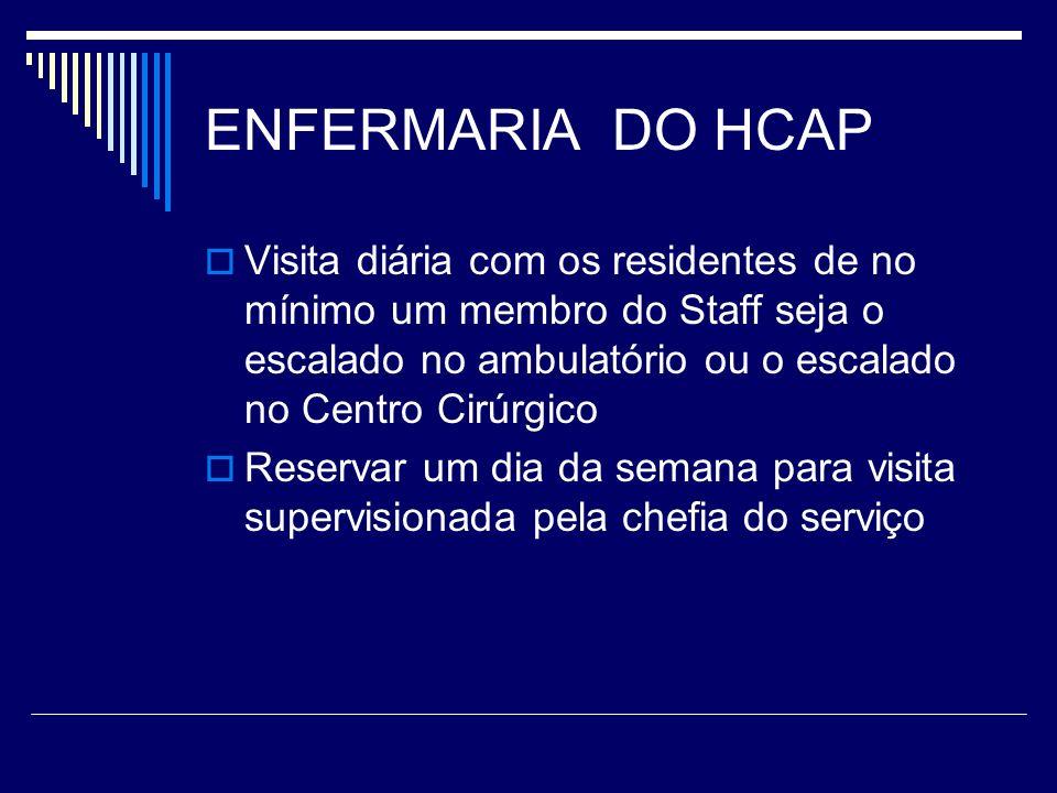 ENFERMARIA DO HCAPVisita diária com os residentes de no mínimo um membro do Staff seja o escalado no ambulatório ou o escalado no Centro Cirúrgico.