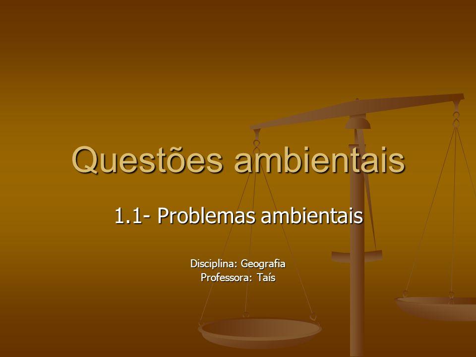1.1- Problemas ambientais Disciplina: Geografia Professora: Taís