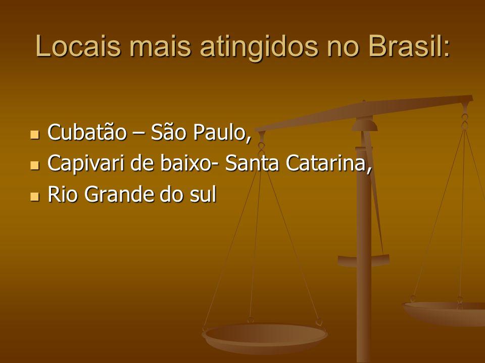 Locais mais atingidos no Brasil: