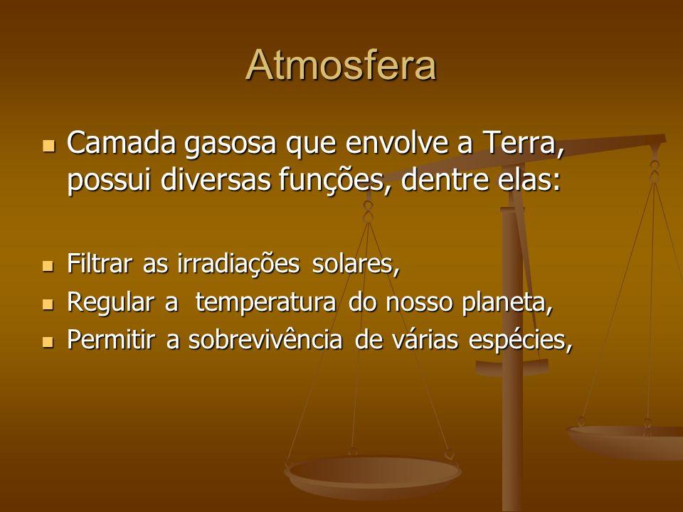 Atmosfera Camada gasosa que envolve a Terra, possui diversas funções, dentre elas: Filtrar as irradiações solares,
