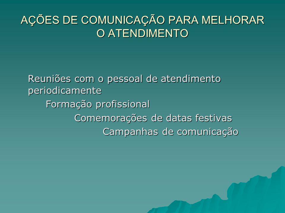 AÇÕES DE COMUNICAÇÃO PARA MELHORAR O ATENDIMENTO
