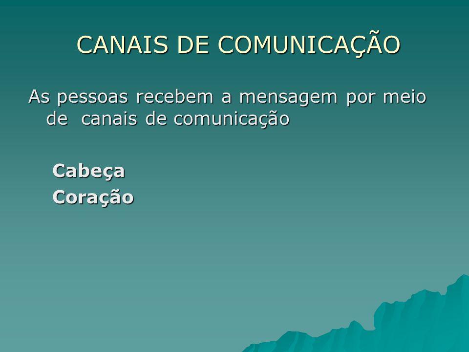 CANAIS DE COMUNICAÇÃO As pessoas recebem a mensagem por meio de canais de comunicação.