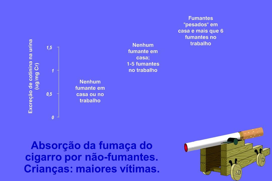 Absorção da fumaça do cigarro por não-fumantes.