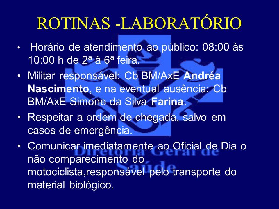 ROTINAS -LABORATÓRIOHorário de atendimento ao público: 08:00 às 10:00 h de 2ª à 6ª feira.