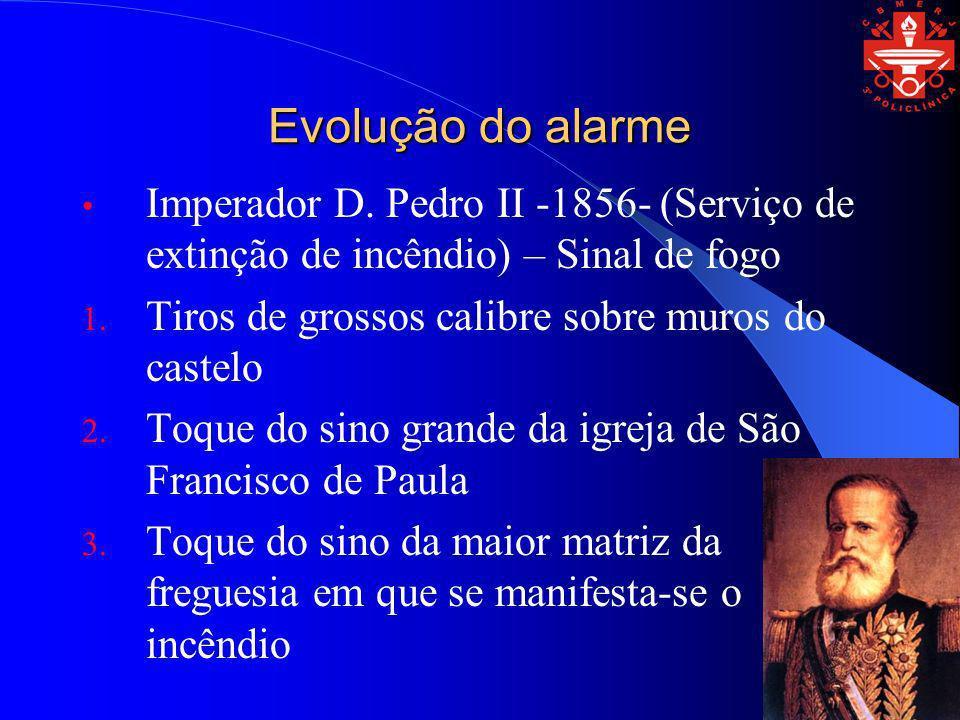 Evolução do alarmeImperador D. Pedro II -1856- (Serviço de extinção de incêndio) – Sinal de fogo. Tiros de grossos calibre sobre muros do castelo.