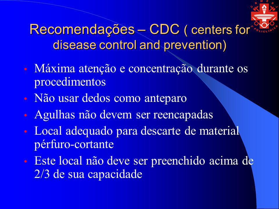 Recomendações – CDC ( centers for disease control and prevention)
