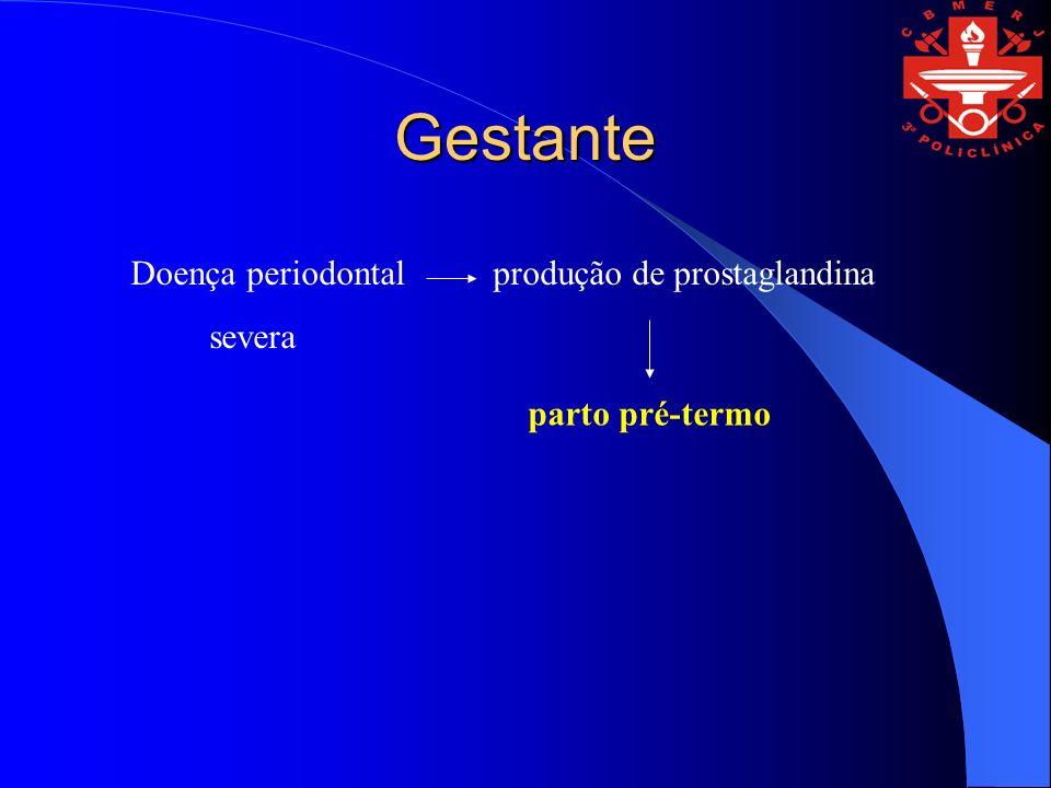 Gestante Doença periodontal produção de prostaglandina severa