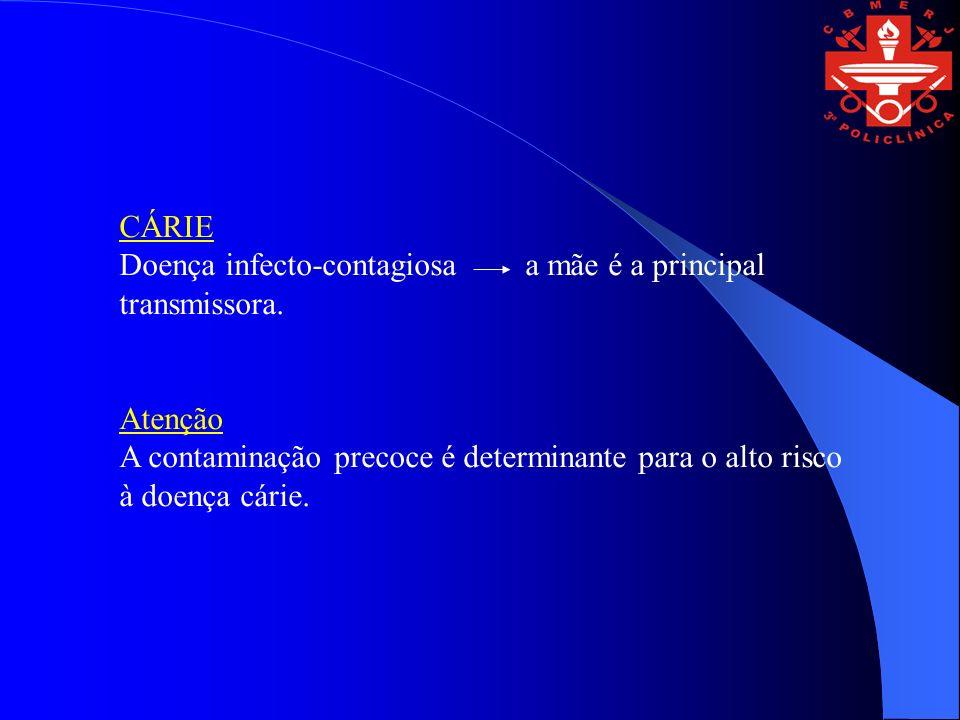 CÁRIE Doença infecto-contagiosa a mãe é a principal transmissora. Atenção.