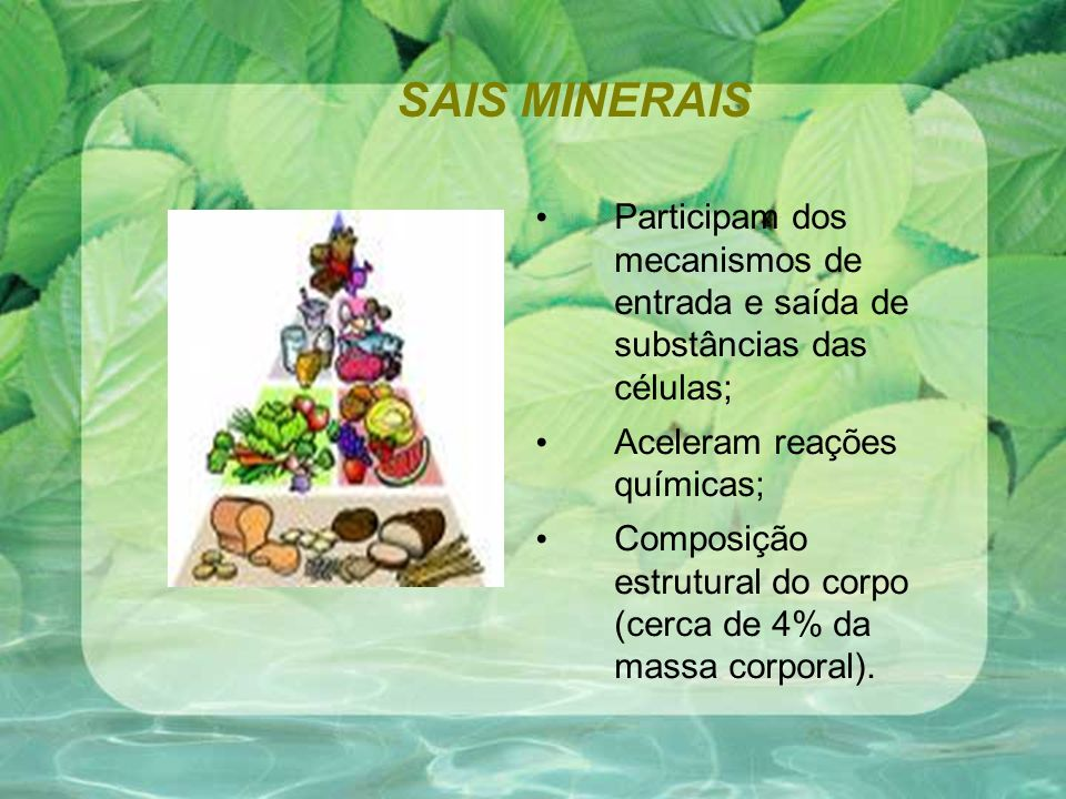 SAIS MINERAIS Participam dos mecanismos de entrada e saída de substâncias das células; Aceleram reações químicas;