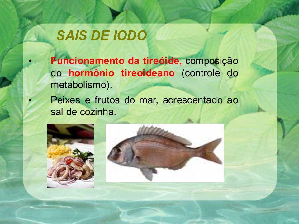 SAIS DE IODO Funcionamento da tireóide, composição do hormônio tireoideano (controle do metabolismo).