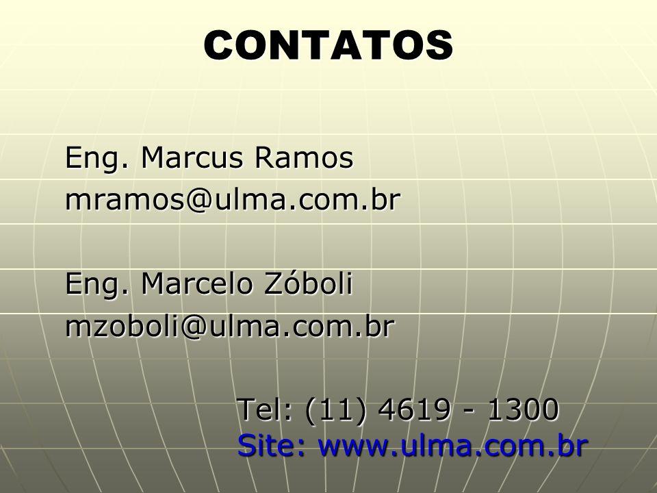 CONTATOS Eng. Marcus Ramos mramos@ulma.com.br Eng. Marcelo Zóboli