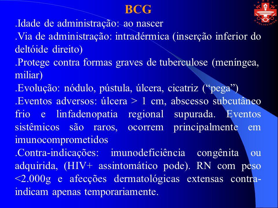 BCG .Idade de administração: ao nascer
