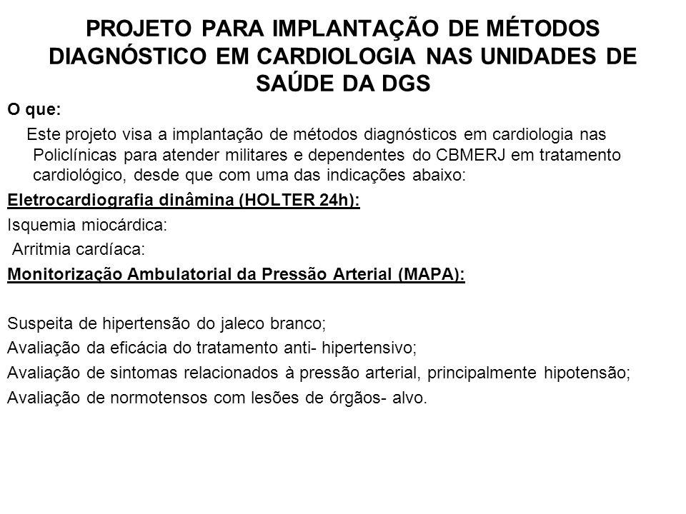 PROJETO PARA IMPLANTAÇÃO DE MÉTODOS DIAGNÓSTICO EM CARDIOLOGIA NAS UNIDADES DE SAÚDE DA DGS