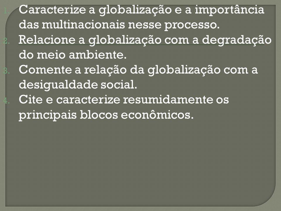 Caracterize a globalização e a importância das multinacionais nesse processo.