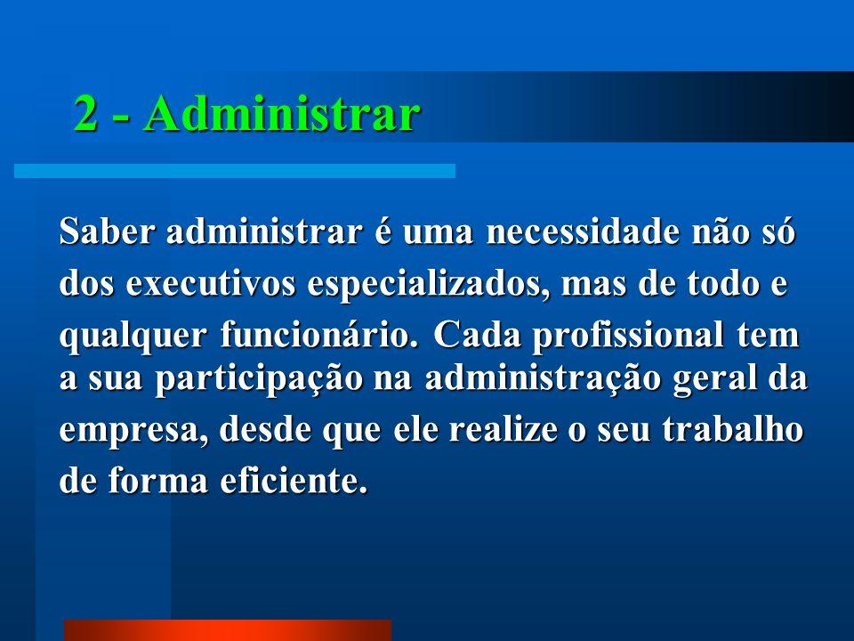 2 - Administrar Saber administrar é uma necessidade não só
