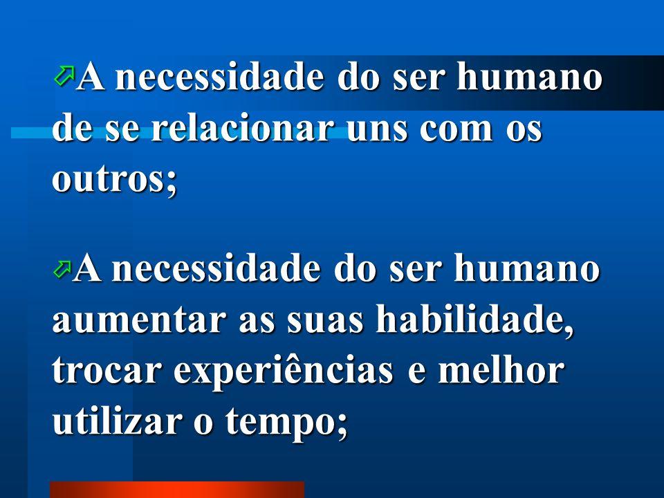 A necessidade do ser humano de se relacionar uns com os outros;