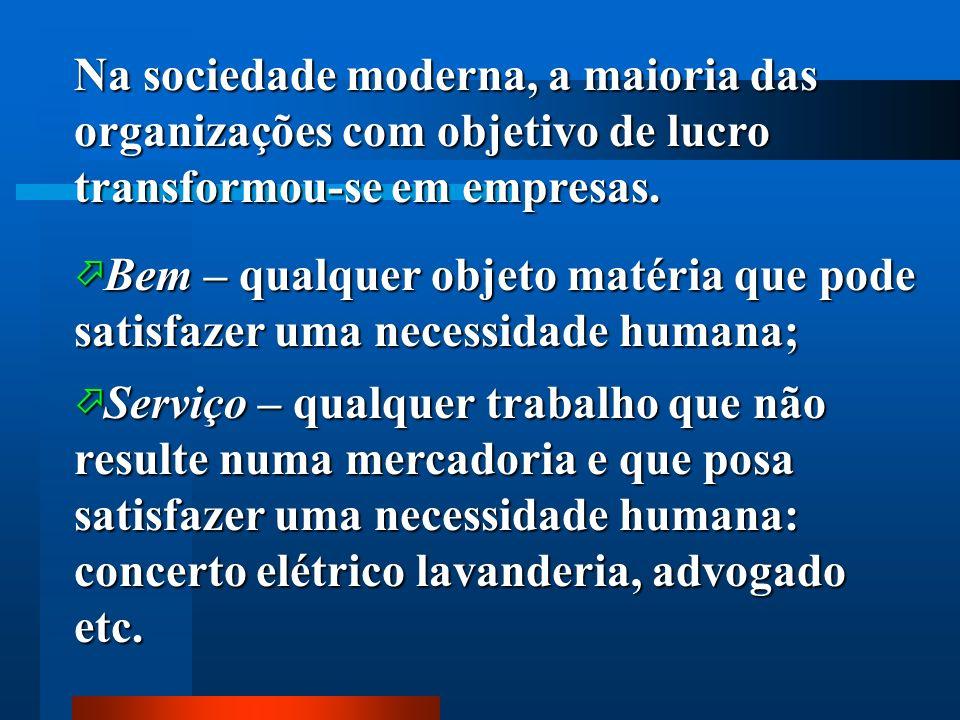 Na sociedade moderna, a maioria das organizações com objetivo de lucro transformou-se em empresas.