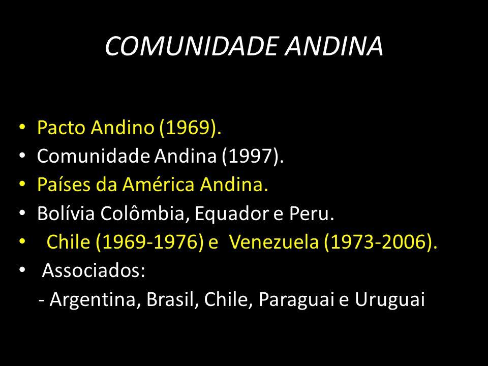 COMUNIDADE ANDINA Pacto Andino (1969). Comunidade Andina (1997).