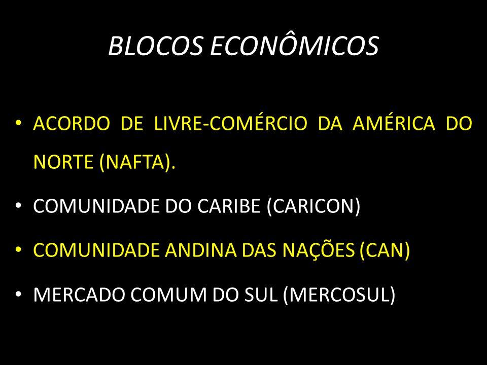 BLOCOS ECONÔMICOS ACORDO DE LIVRE-COMÉRCIO DA AMÉRICA DO NORTE (NAFTA). COMUNIDADE DO CARIBE (CARICON)