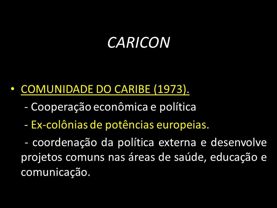 CARICON COMUNIDADE DO CARIBE (1973). - Cooperação econômica e política