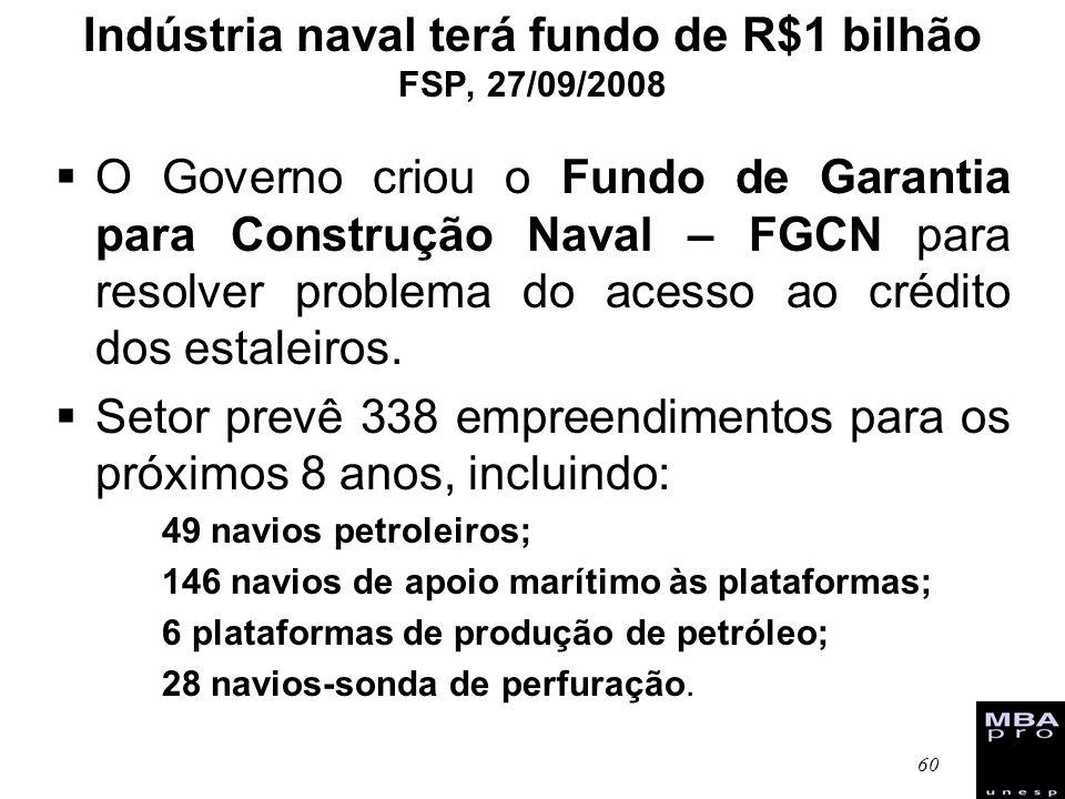 Indústria naval terá fundo de R$1 bilhão FSP, 27/09/2008