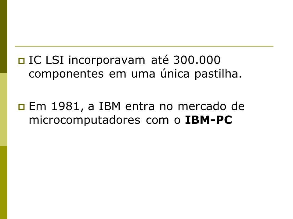 IC LSI incorporavam até 300.000 componentes em uma única pastilha.