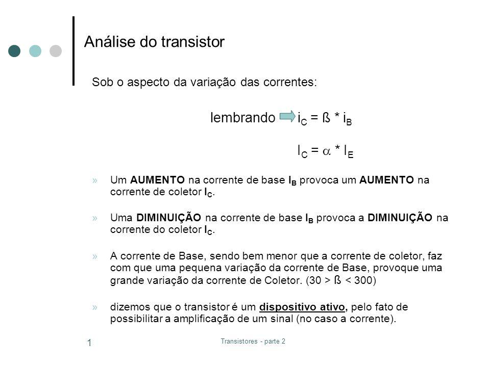 Análise do transistor lembrando iC = ß * iB IC =  * IE