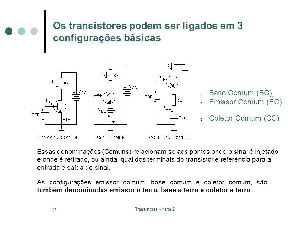 Os transistores podem ser ligados em 3 configurações básicas