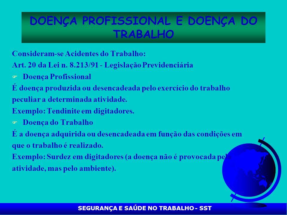 DOENÇA PROFISSIONAL E DOENÇA DO TRABALHO