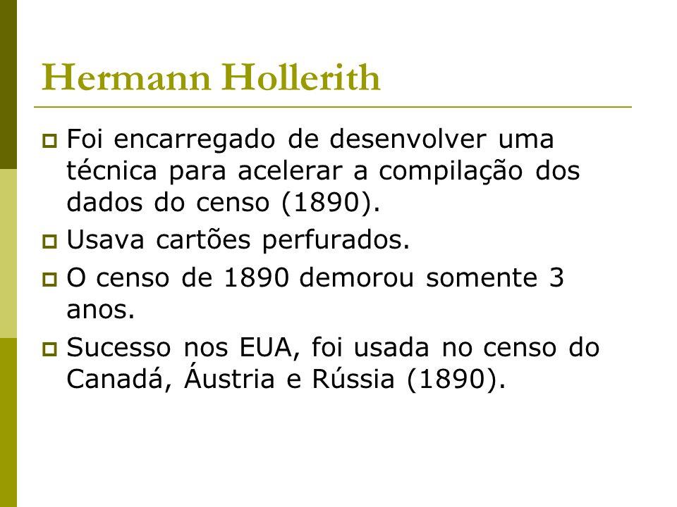 Hermann Hollerith Foi encarregado de desenvolver uma técnica para acelerar a compilação dos dados do censo (1890).